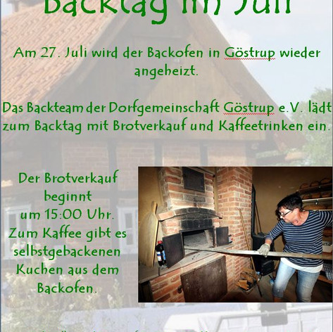 Backtag Juli 2019