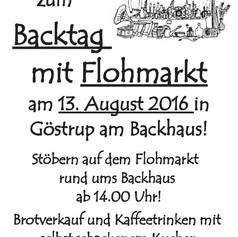 Einladung zum Backtag mit Flohmarkt 2016