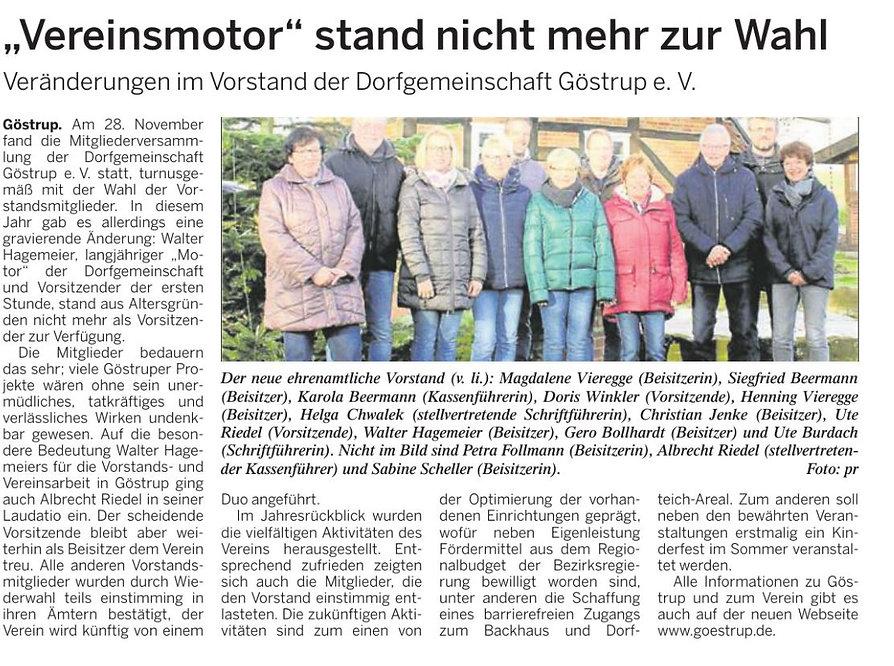 Dorfgemeinschaft Göstrup Presseartikel über die Mitgliederversammlung 2019schaft Göstrup