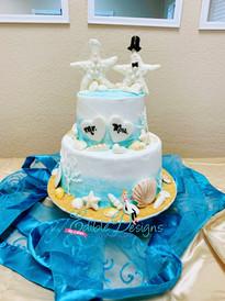 2 teired wedding beach cake serving 50