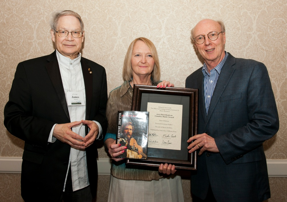 L-R James Akenson. Diane Diekman (Belmont Country Music Book of the Year Honoree), Don Cusic ICMC 20