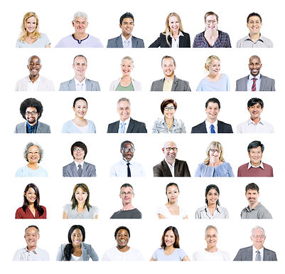 Grid of diverse business professionals.j