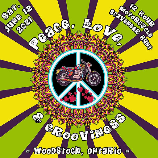 Peace, Love, and Grooviness Rally Logo S