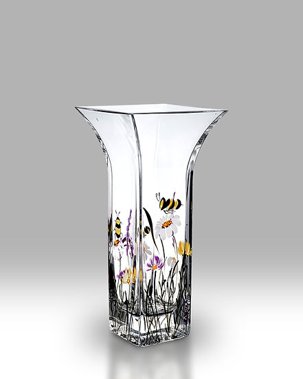 Bees & Blooms Flared Square Vase