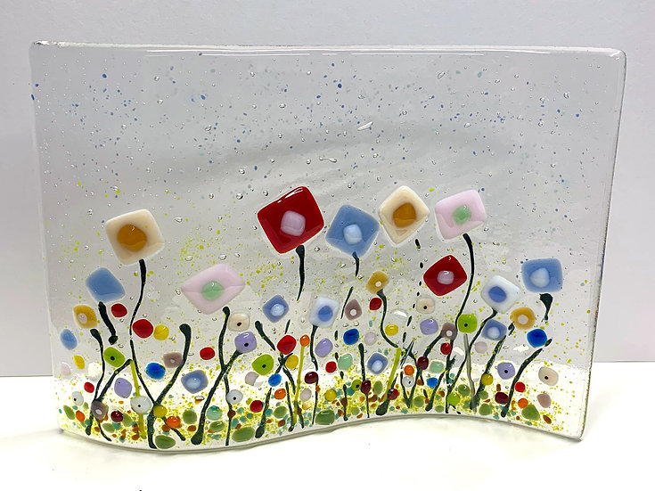 Wild Flower Field Fused Glass, Large Wave, Gift, Scottish,