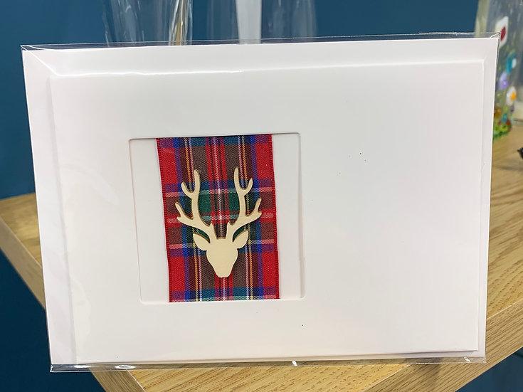 Red Tartan Stag Blank Card