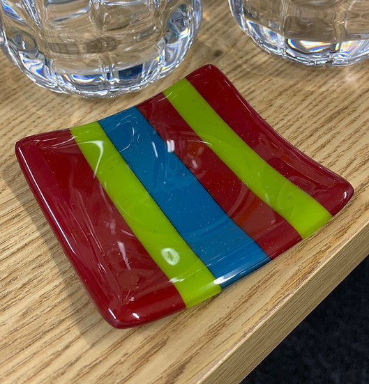 Red,Green,Blue Slumped Striped Dish 8cm x 8cm