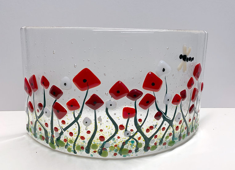 Wild Poppy Field with Dragon Fly Fused Glass,  Fused Glass