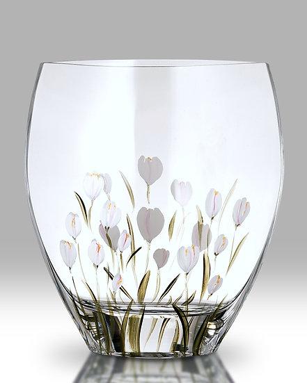 Crocus Lotus White Curved Vase