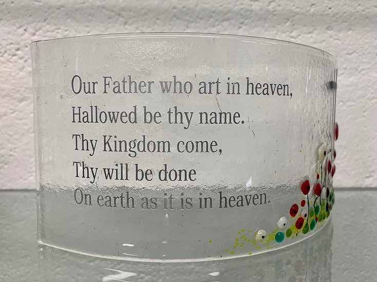 The Lord's prayer, fused glass wave ornament
