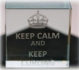 Keep Calm & keep Curling Crystal Block