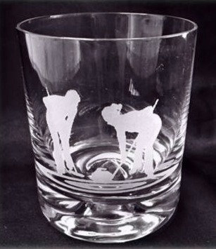 Male & Female Curlers Silhouette Whisky Glass