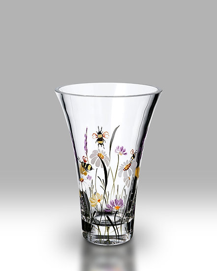 Bees & Blooms Flared Round Vase