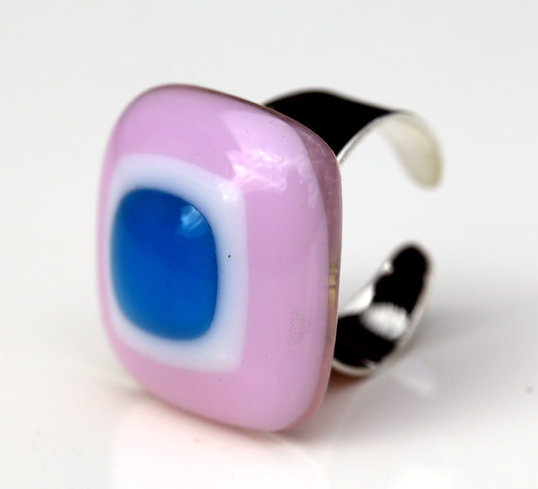 Pink,Whit and Blue Glass Ring