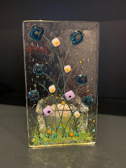 Blue and Pink Wild Flower Tea Light Holder