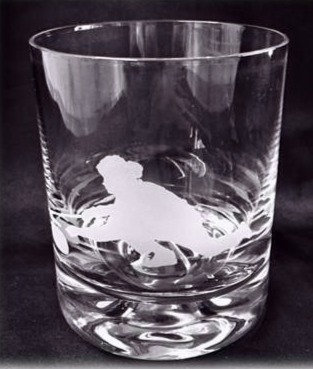 Female  Curler Silhouette Whisky Glass