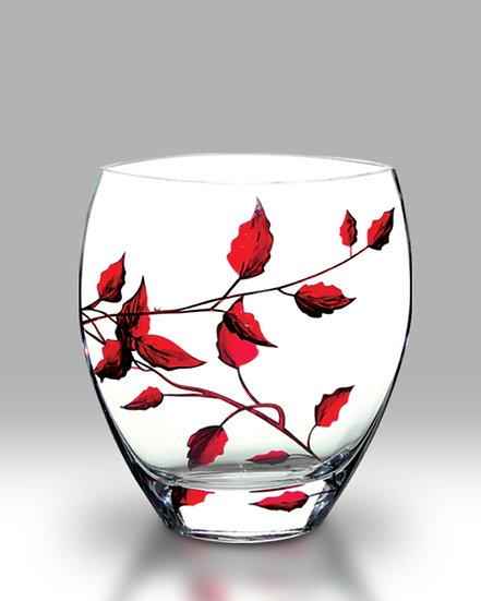 Ruby Leaf Curved Vase