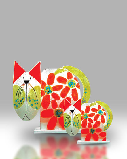 Red & Green Floral Cat Small