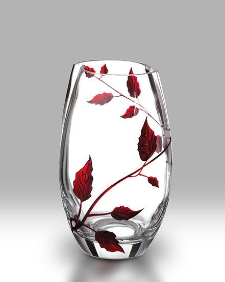 Ruby Leaf Round Vase