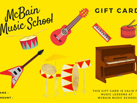 Gift Vouchers just received from the printers. Come in past McBain Music School for that last gift.