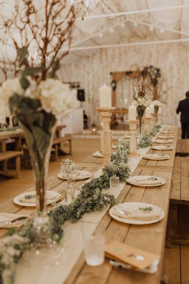 The Magnolia Ballroom with Custome Built Farmhouse Tables