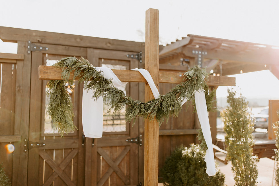 wedding cross for ceremony arbor
