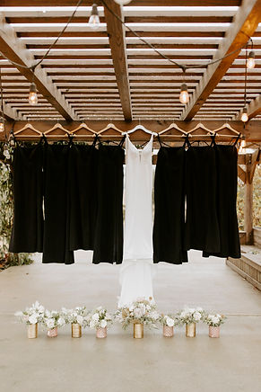 wedding dress with bridesmaid dresses an