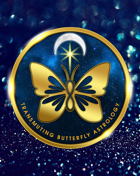 Logo for Transmuting Butterfly Astrology which is a golden butterfly on a sky full of stars