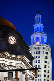 Electric Tower & Gold Bank Blue Lights #1