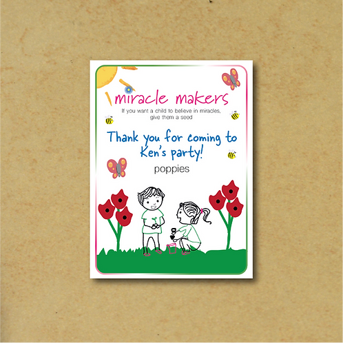 10 Packs Personalised Party Bag Poppy Seeds