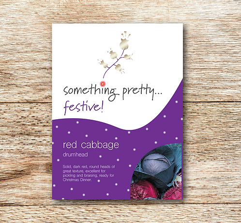 Festive Red Cabbage (Drumhead) Seeds