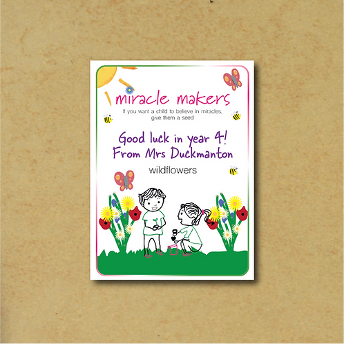 Sets of 5-35 Personalised 'Good Luck In Your New Class' Seed Packets