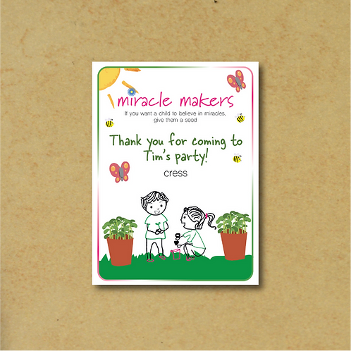 20 Packs Personalised Party Bag Cress Seed