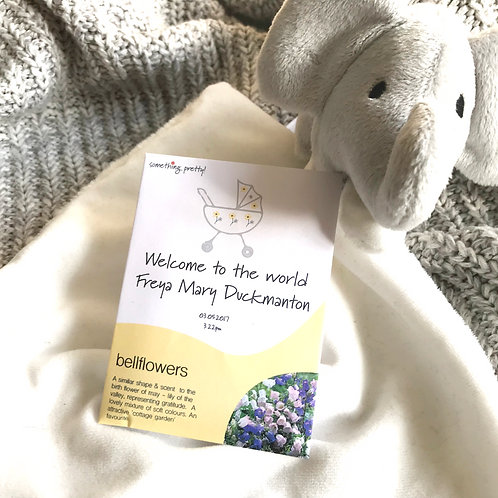 Personalised New Baby Birth Flower Seed Packets