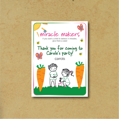 10 Packs Personalised Party Bag Carrot Seeds
