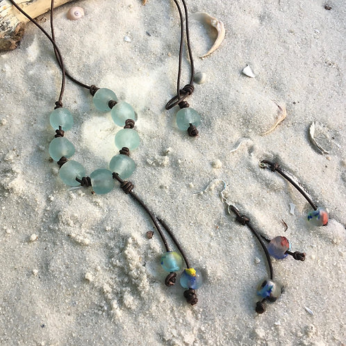 Recycled glass and Aurora quartz