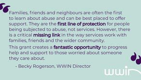 WWIN & AAFDA receive 'Change Makers' funding to tackle domestic abuse