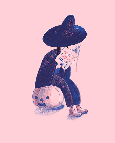 An illustration of a witch sitting on a pumpkin reading a book of spooky Halloween soups on a pink background.