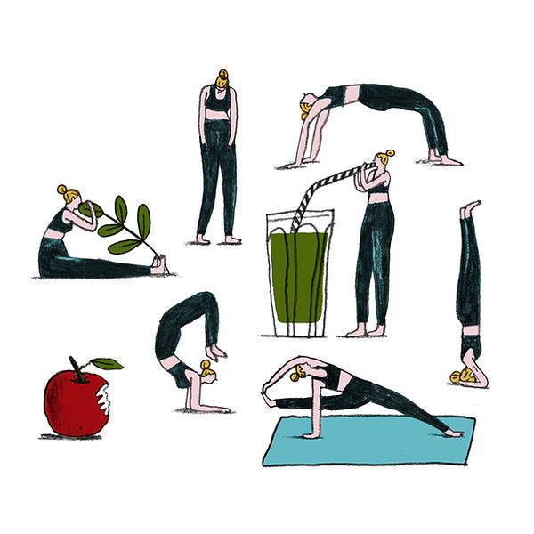 Illustration of a girl in various different yoga poses, with a green juice and an apple with a bite out of it also included.