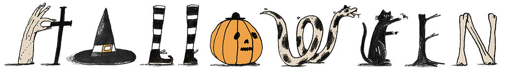 An illustration of the word Halloween using various commonly associated things such as pumpkins and bones to create the letters.