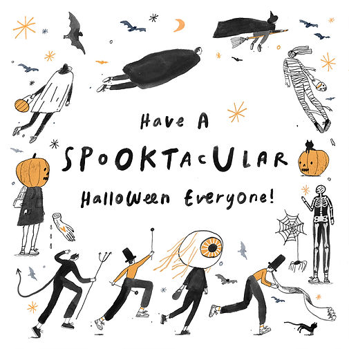 """An illustration that says """"Have a Spooktacular Halloween Everyone!"""" with various Halloween characters surrounding it."""