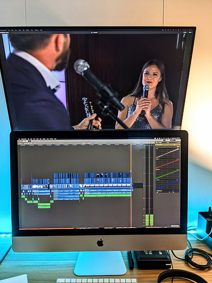Monitor showing audio editing for concert
