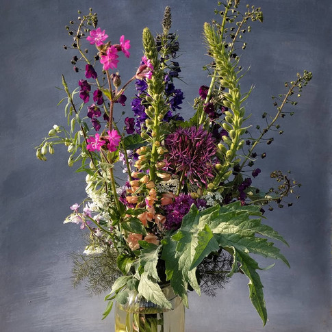 foxglove allium black shed bouquet