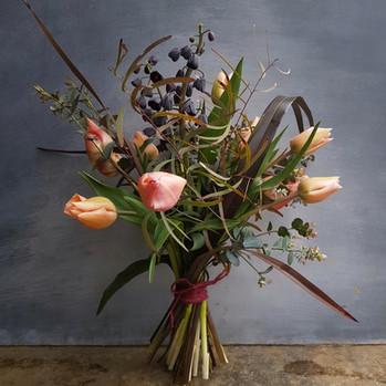 tulip and fritillary hand tie