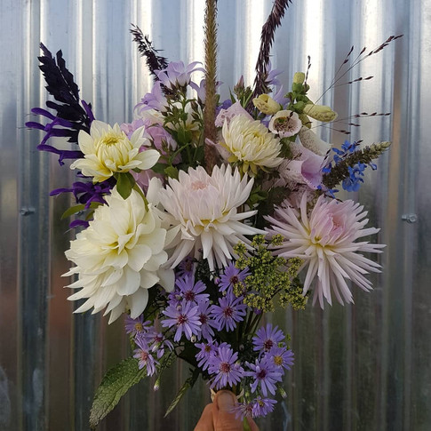 dahlia and aster black shed hand tie