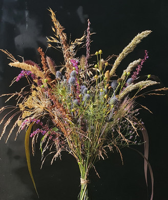 black shed ornamental grass bouquet