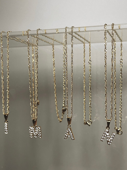 ASINO Diamond Letter Necklace