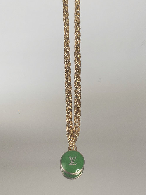 "Authentic Reworked Louis Vuitton Pendant on our 18"" Gold Filled Belcher Chain"