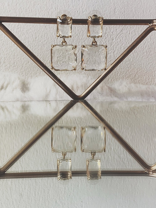 KOS Glass Square Drop Earrings