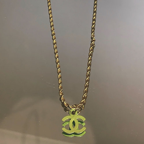 "Authentic Reworked Chanel Logo on our 18"" Gold Filled Chain"